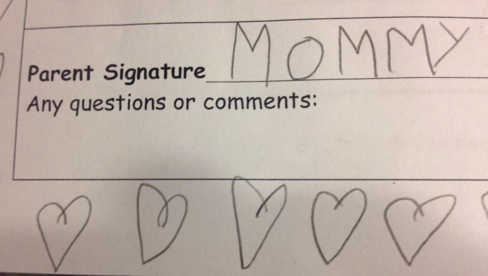 "a school permission slip for ""Parent Signature"" with a child's print signature of ""Mommy"""